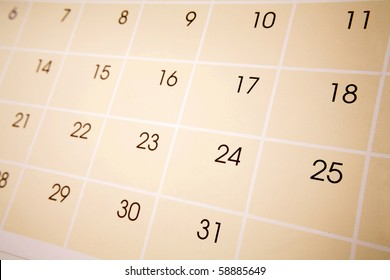 Closeup of numbers on calendar page