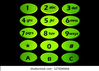Closeup numeric and alphabet pad, keyboard light , police and military  radio communication.