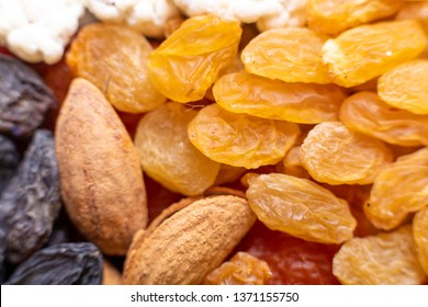 Closeup of nuts and dried fruits