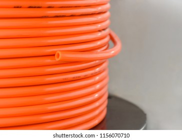Close-up nylon tube,nylon tube used in pneumatic in the factory.selective focus.
