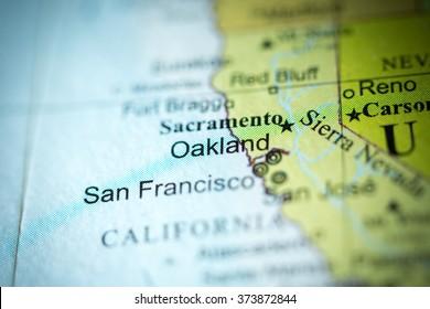 Closeup of Oakland, California on a political map of USA.