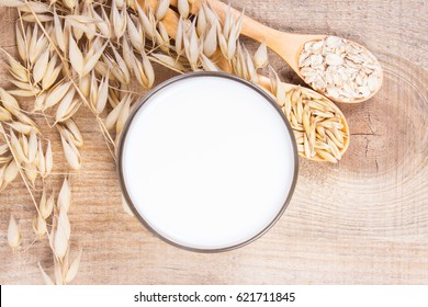 Closeup of oat milk, the concept of a vegetarian diet.