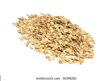 Closeup of oatmeal isolated on white background.
