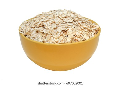 Close-up of oatmeal isolated on white background