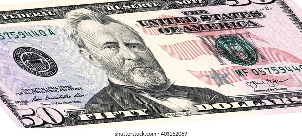 closeup of the obverse sides of the banknote in a fifty dollars isolated on white with Clipping Path.