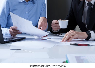 Close-up of office workers during their work