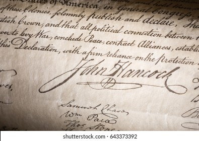Closeup ofJohn Hancock signature on the declaration of independence
