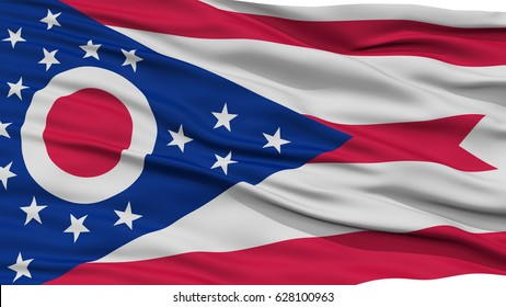 Closeup Ohio Flag on Flagpole, USA state, Waving in the Wind, High Resolution