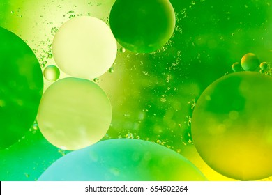 closeup of oil drops on the water