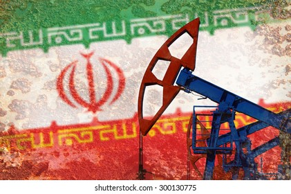 close-up of the oil pump on the background of the flag Iran