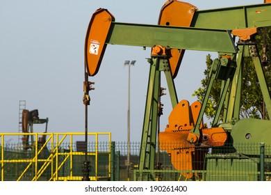 Close-up of oil pumps