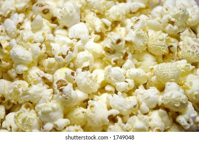 Closeup of oil-popped popcorn