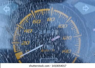 Close-up Old dashboard crack mileage car