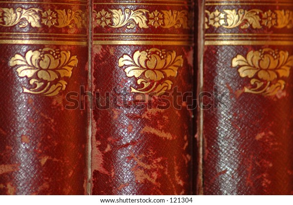 close-up old encyclopedias