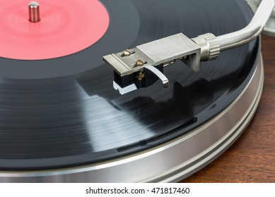 Closeup of old fashioned turntable with vinyl record
