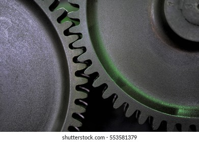 Close-up of the old gear which meshed