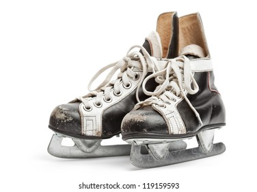 Close-up of  the old ice skates, isolated on white background with soft shadow. Focus on front.