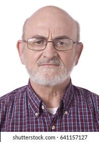 Closeup old man face head shot