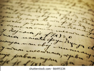 Closeup of an old manuscript written with ink