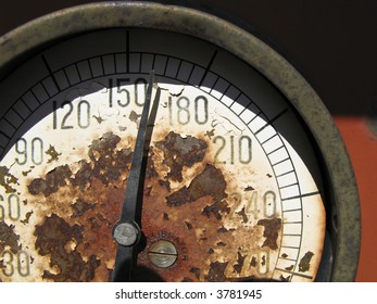 Close-up of an old measuring instrument