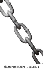 closeup of old metal chain links