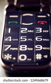 Close-up of an old mobile phone.