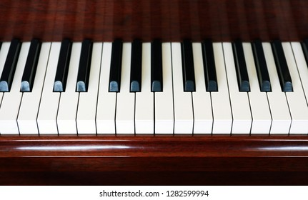 Closeup of old piano white and black keys as background