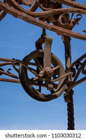 Close-up of an old pulley