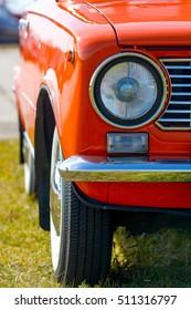 Closeup of old retro car headlight