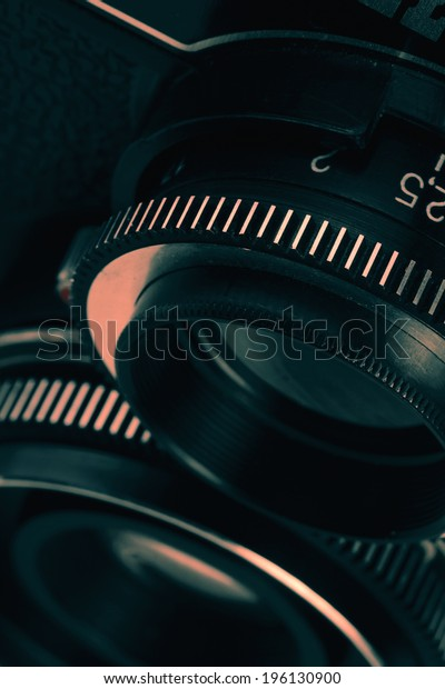 Closeup of old retro film camera lens. Lomography. Made in USSR