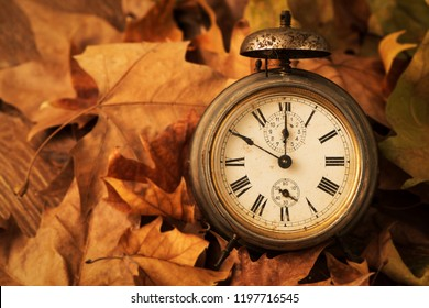 closeup of an old and rusty alarm clock surrounded by dry leaves, depicting the end of the summer time and the beginning of autumn - Shutterstock ID 1197716545
