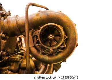 Close-up of old rusty diesel engine turbocharger