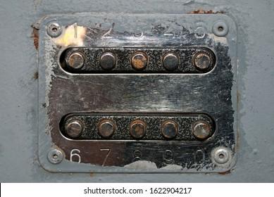 Closeup of old rusty door lock