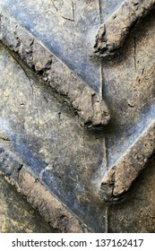 Close-up of old tractor tyre
