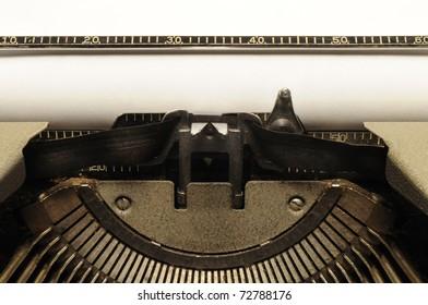 Closeup of old typewriter carriage circa 1950s