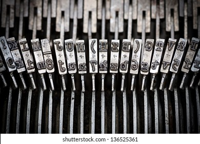 closeup of old typewriter letters