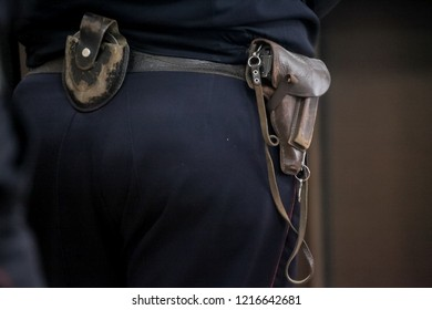 Close-up of a old vintage weapon wore in an holster