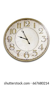 Close-up of an old white clock with black arrows isolated on white background