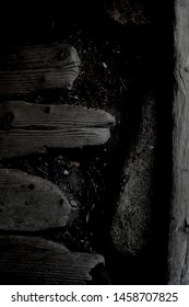 Closeup of an old wooden floorboard, in a historic barn