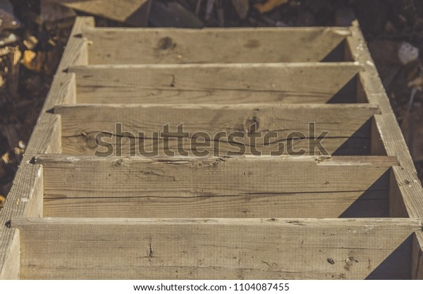 close-up, old wooden staircase, top view