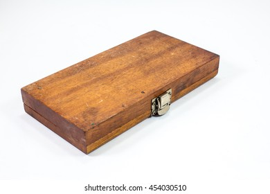 Closeup of old wooden tool box on the white background