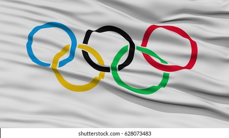 Closeup Olympic Flag, Waving in the Wind, High Resolution