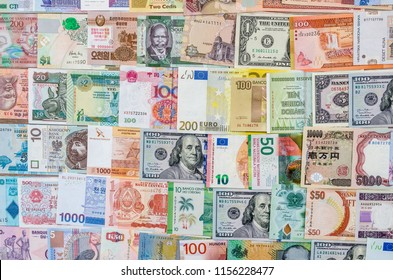 Closeup on banknotes collection from all around world