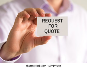 Closeup on businessman holding a card with REQUEST FOR QUOTE message, business concept image with soft focus background and vintage tone