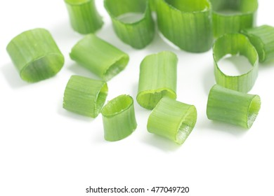 Close-up on a Chives. Sping Onions chopped. Sping Onions chopped in white background