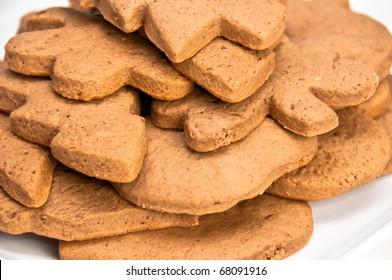Closeup on Christmas shaped homemade gingerbread cookies