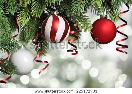 Closeup on Christmas tree decoration over festive background