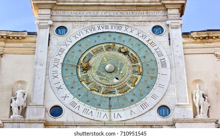 Close-up on the clock tower in the Piazza dei Signori in Padua, Italy