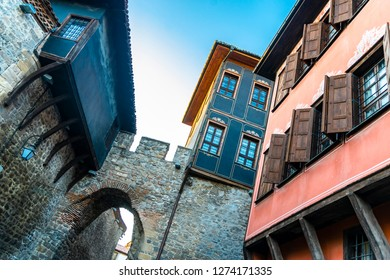 The close-up on detail of architecture from Plovdiv in Bulgaria