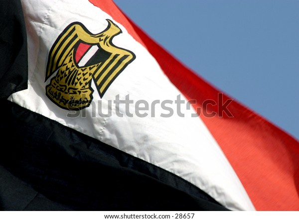 Close-up on the eagle at the centre of the Egyptian flag